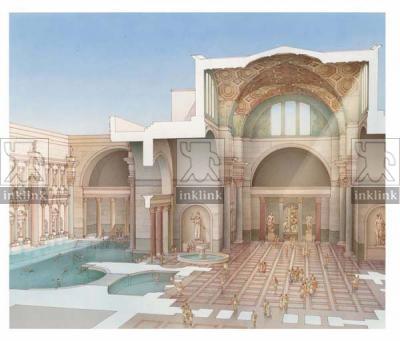 Le decorazioni e le opere d'arte all'interno delle Terme di Caracalla