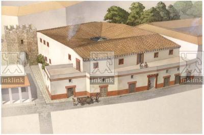"""La domus dei Tarquini sulla via Sacra, accanto alla Porta Mugonia """"Fenestella"""", seconda metà VI secolo a.C."""