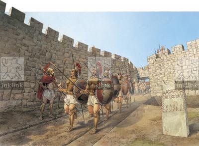 Guerrieri che escono dalla porta nord-est dell'abitato di Cavallino