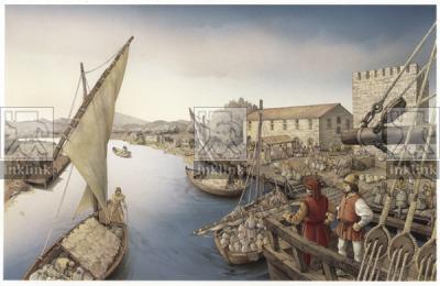 Il porto alla foce del fiume Fiora, epoca medievale
