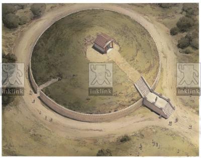 L'altare, il tempietto e la tomba 1 del Tumulo II del Sodo al momento della fondazione