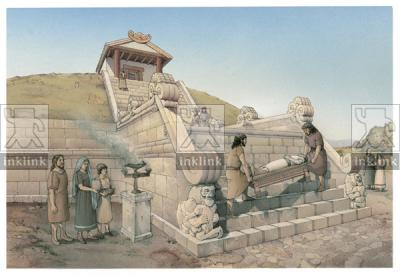 L'altare e il tempietto del Tumulo II del Sodo al momento della fondazione