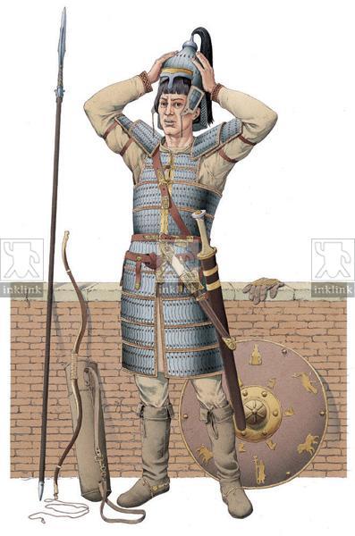 Abbigliamento di un cavaliere romano, VII secolo