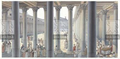 Foro di Cesare dall'interno del portico meridionale, età traianea