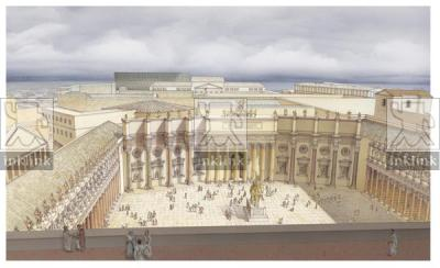 Foro di Traiano visto dalla terrazza sommitale della Basilica Ulpia