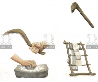 Strumenti impiegati durante il Neolitico: zappa, falcetto, macinello, telaio