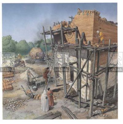 San Gimignano: cantiere della costruzione della chiesa di San Jacopo, inizi XIII secolo