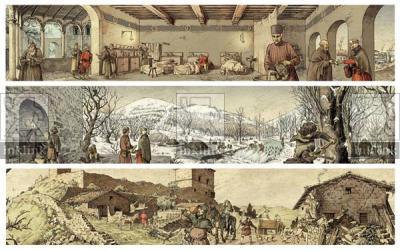 Il calendario medievale: Gennaio, Santa Maria della Scala; Febbraio, Val di Merse; Marzo, Montarrenti