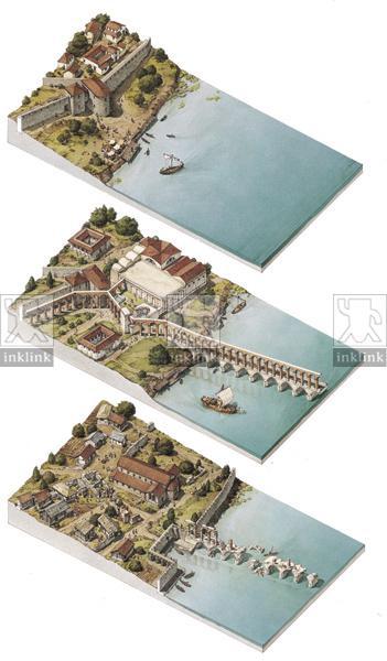 Il punto di accesso a Butrinto nel III secolo a.C., nel II, nel XIII secolo d.C.