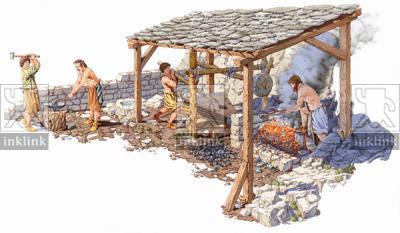 L'impianto artigianale per la riduzione del ferro: il bassofuoco e la forgia, XI - XIII secolo