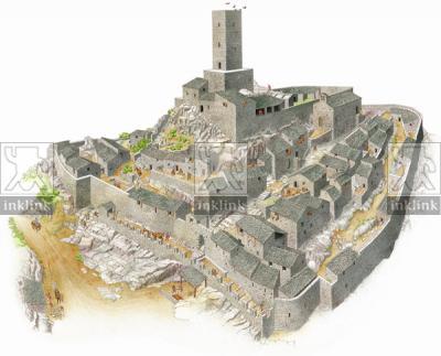 Rocca San Silvestro al momento della ristrutturazione dei Della Rocca, XII secolo