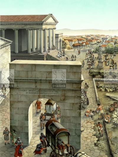 L'area del foro: l'Arco Onorario ed il Tempio Grande